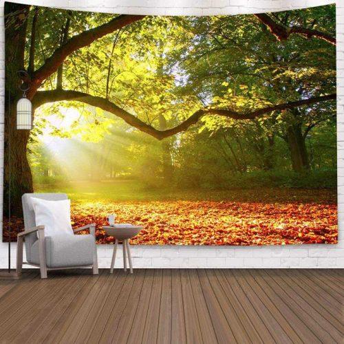 Wandkleed met print Bos met bladeren op de grond herfst
