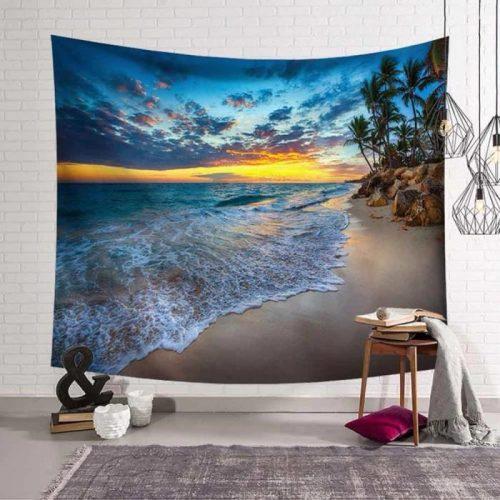 Bruisende zee aan strand en palmbomen wandkleed wandtapijt wanddecoratie