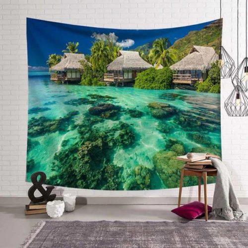 Caribbean vakantiehut aan het water wandkleed wandtapijt wanddecoratie