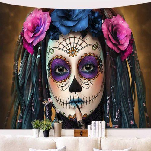 Vrouw geschminkt voor de Dag van de doden - dia de los muertos wandkleed