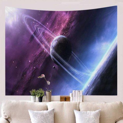 Heelal met planeten wandkleed