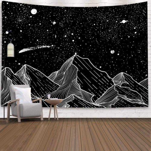 Wandkleed heelal met bergen sterren en planeten