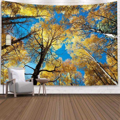 Wandkleed met Herfst bomen heldere lucht