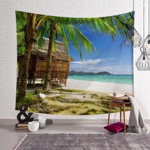 Hutje op het strand onder de palmbomen wandkleed wandtapijt wanddecoratie