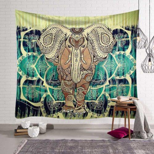 Mandala olifant wandkleed bruin