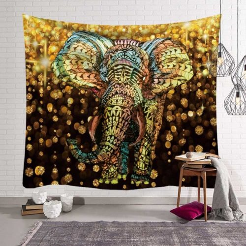 Mandala olifant zwart met gouden vlokken
