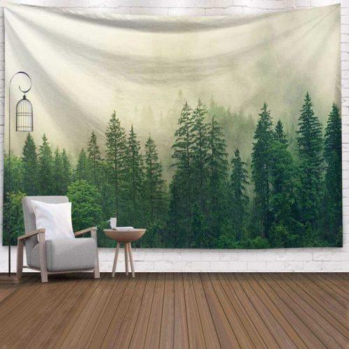 Mist in het bos wandkleed