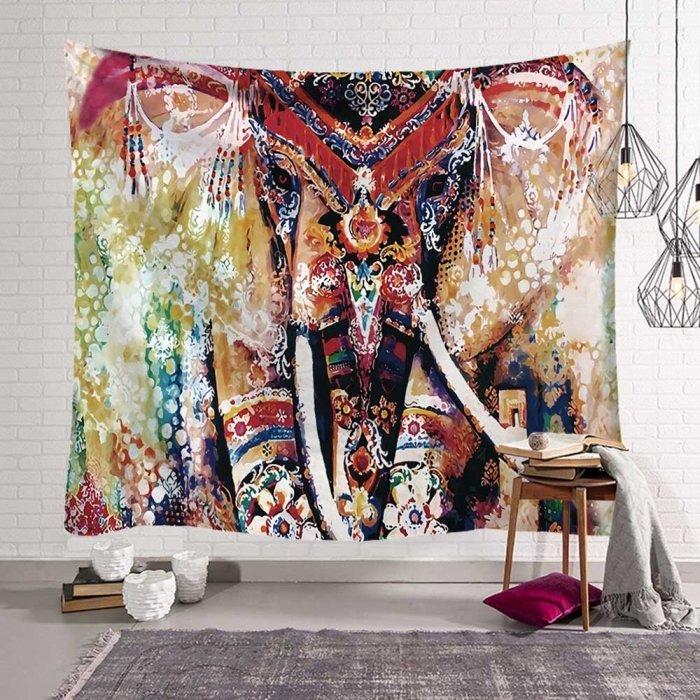 Olifant closeup kleurrijke hippie decoratie wandkleed, wandtapijt