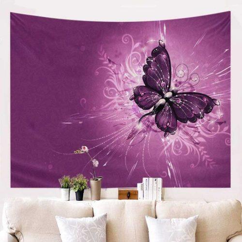Paarse vlinder wandkleed