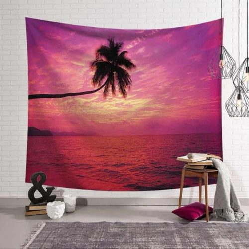 Paarse zonsondergang met palmboom wandkleed wandtapijt wanddecoratie