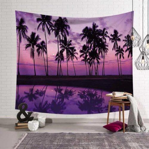 Paarse zonsondergang met zee en palmbomen wandkleed wandtapijt wanddecoratie