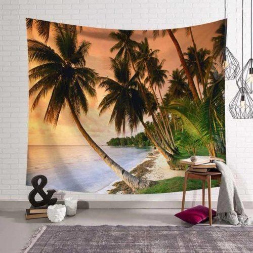 Palmbomen langs het strand met zonsondergang wandkleed wandtapijt wanddecoratie