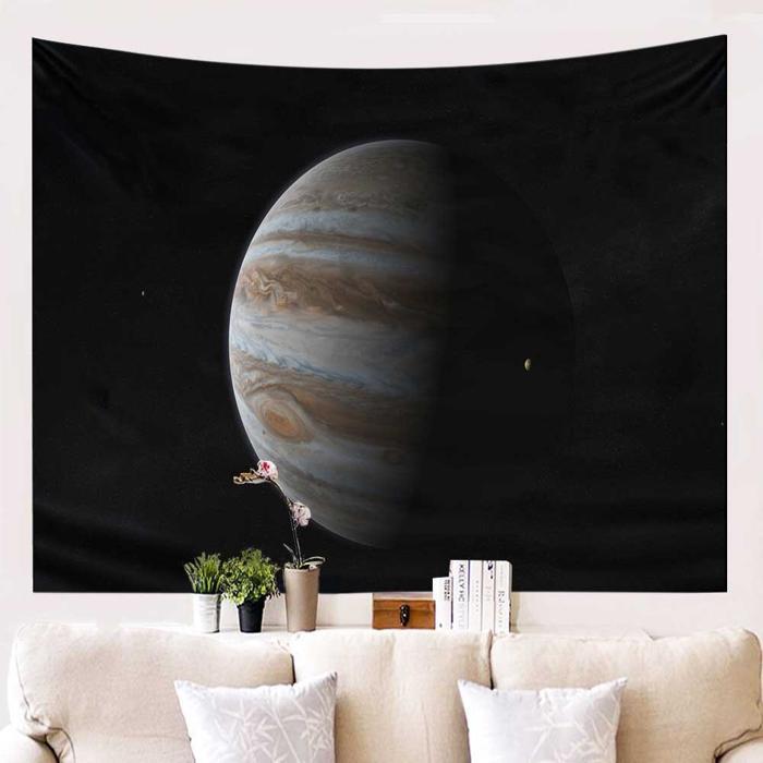 Planeet in de ruimte schaduw wandkleed