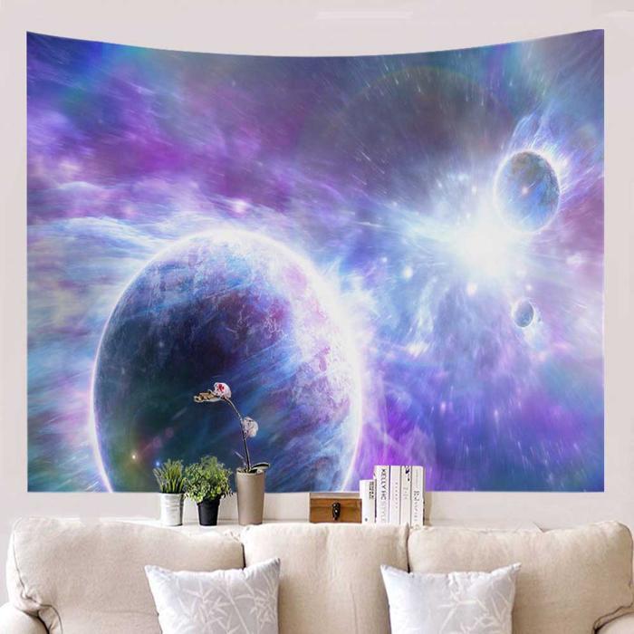 Planeten wandkleed blauw paars psychedelisch