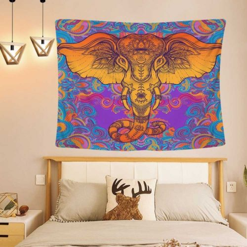 Psychedelisch olifant wandkleed