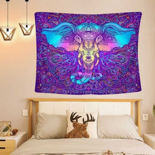 Olifant paars Psychedelisch wandkleed