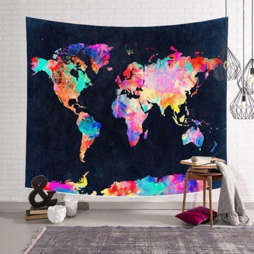Hippie wereldkaart wandkleed