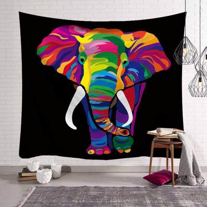 Psychedelische olifant wandkleed met zwarte achtergrond