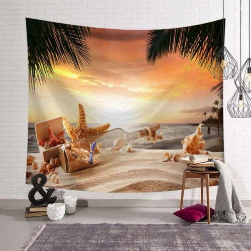 Strand flessenpost palmboom zee wandkleed wandtapijt wanddecoratie