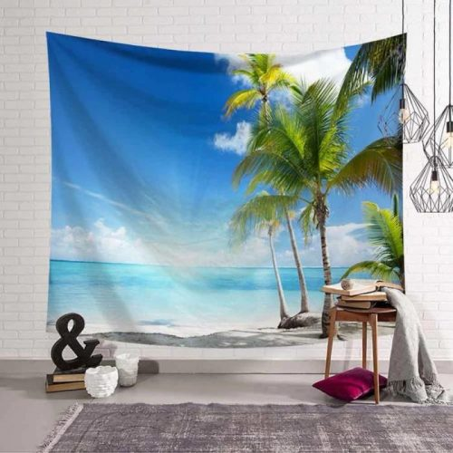 Strand palmboom wandkleed wandtapijt wanddecoratie