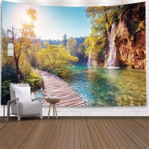 Wandkleed met Tropische omgeving met waterval en bos