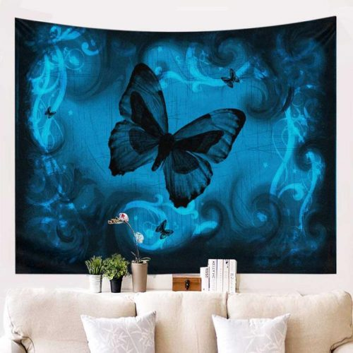 Vlinder wandkleed blauw