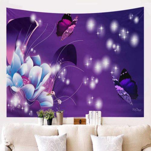 Vlinders en bloemen wandkleed paars