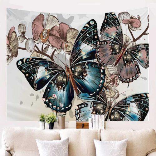 Vlinders op bloemen wandkleed Bohemian BoHo