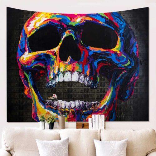 Wandkleed met een schedel in psychedelische kleuren met geld op de achtergrond