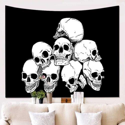 Wandkleed gestapelde schedels