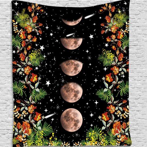 Wandkleed maanstanden bloemen en vallende sterren