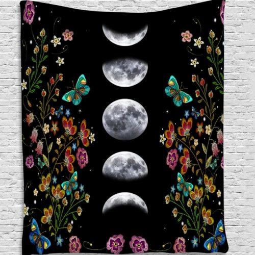 Wandkleed maanstanden grijze maan bloemen vlinders