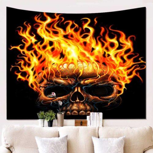 Wandkleed Schedel met vuur