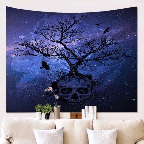 Wandkleed schedel met boom en sterren