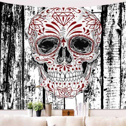Wandkleed schedel met schildering