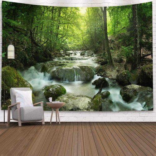Wandkleed met Rivier met waterval in bos