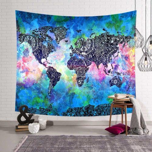 Wereldkaart psychedelisch mandalas wandkleed blauw