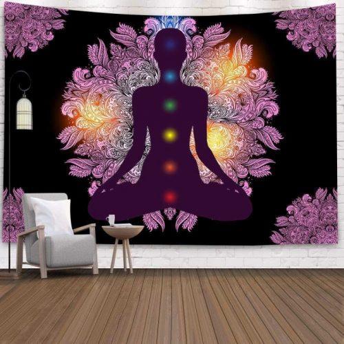 Yoga meditatie wandkleed met shakras wandkleed wandtapijt wanddecoratie
