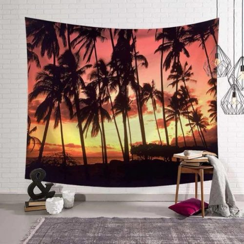 Zonnegloed door palmbomen aan de zee wandkleed wandtapijt wanddecoratie