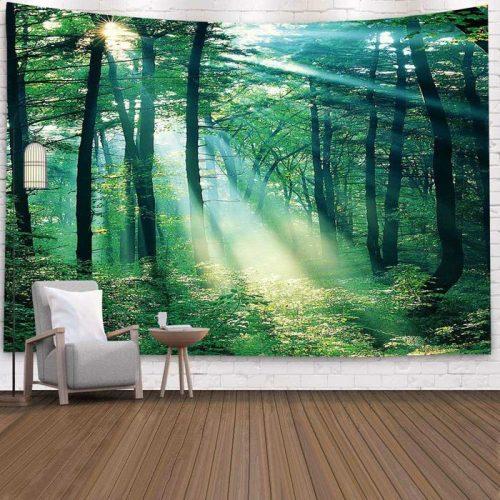 Wandkleed met Zonnestralen in het bos