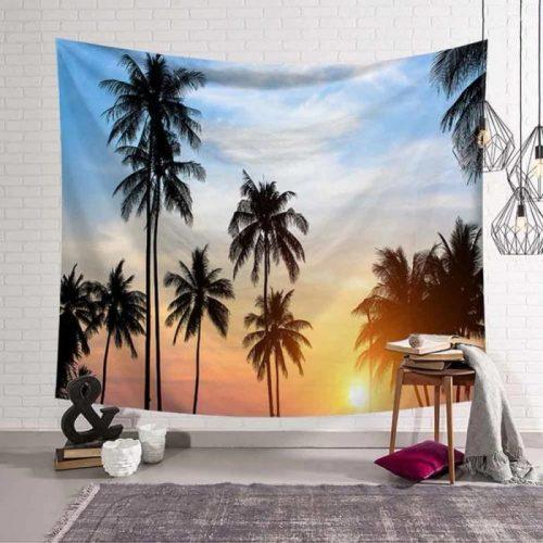 Zonsondergang met palmbomen wandkleed wandtapijt wanddecoratie