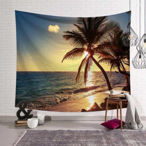 Zonsondergang strand en palmboom wandkleed wandtapijt wanddecoratie