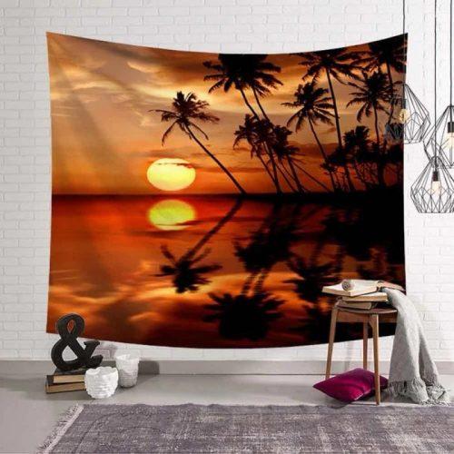 Zonsondergang zee en palmbomen wandkleed wandtapijt wanddecoratie