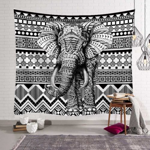 Zwart wit kunst olifant mandala wandkleed wandtapijt