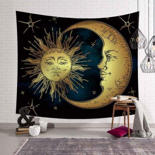 zon maan wandkleed met gezichten, wandtapijt, tapestry