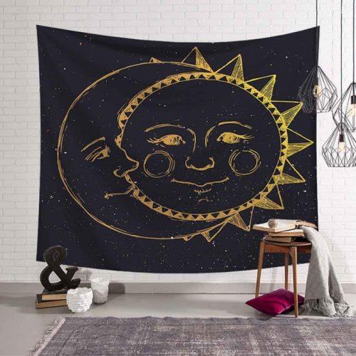 zon maan wandkleed samengesmolten, wandtapijt