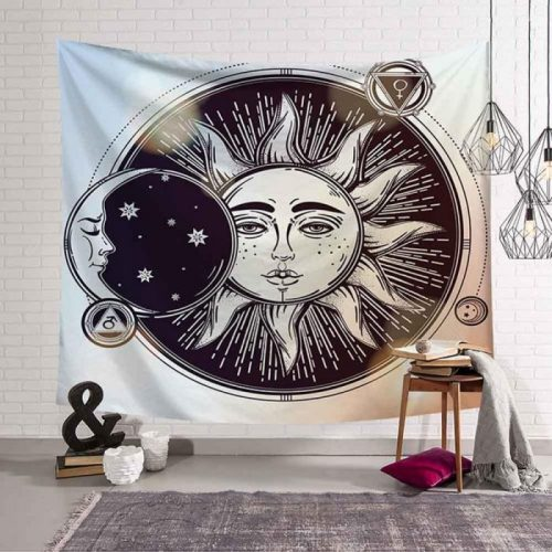 zon maan zwart wit man vrouw spiritualiteit wandkleed e1606033549762
