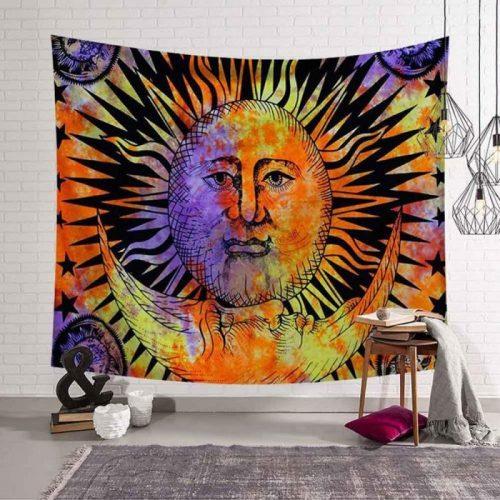 zon met liggende maan wandkleed, wandtapijt