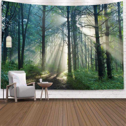 Zonnestralen door het bos wandkleed